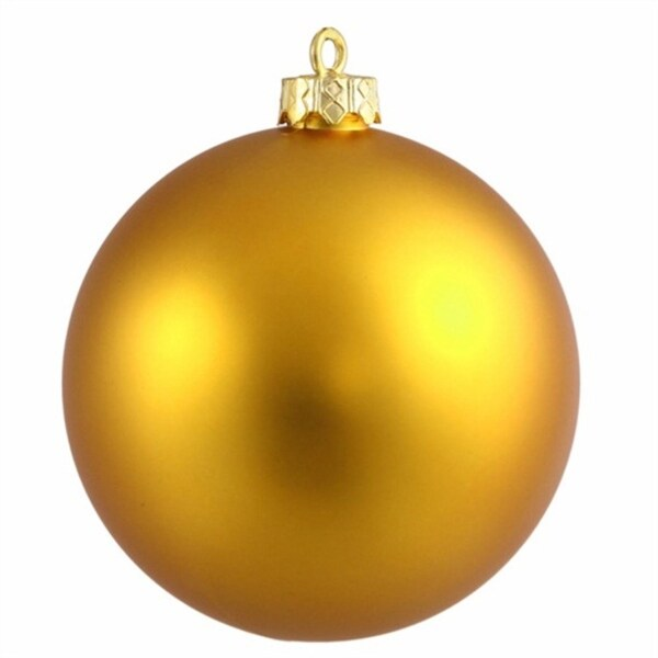 "Matte Antique Gold Shatterproof Christmas Ball Ornament 4"" (100mm)"