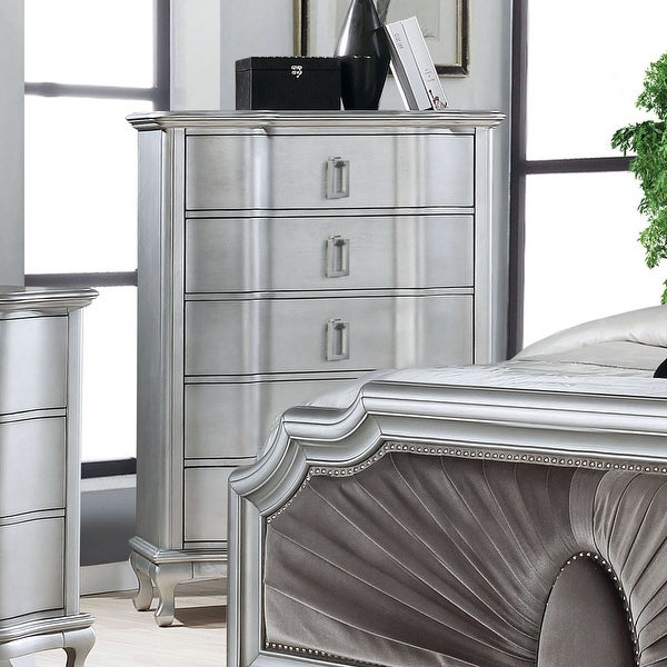 Silver Orchid Arlen Transitional Silver 5-drawer Chest. Opens flyout.
