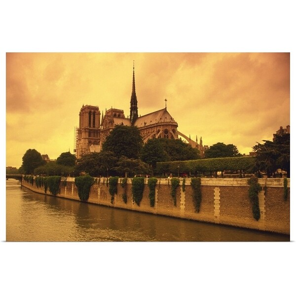 """""""Image of the Notre Dame and the Seine Next to It By Sunset, Paris, France"""" Poster Print"""