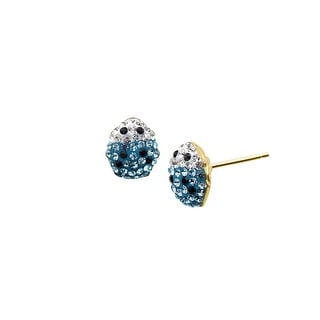 Crystaluxe Girl's Ladybug Earrings with Sky Blue Swarovski Crystals in 14K Gold-Plated Sterling Silver