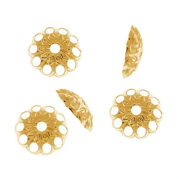 22K Gold Plated Openwork Daisy Bead Caps - 6mm (50)