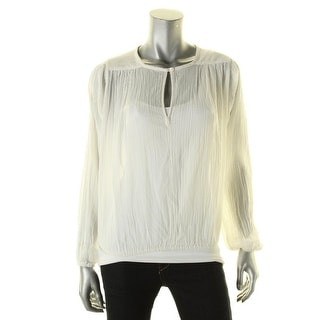 Elie Tahari Womens Blouse Silk Sheer - l