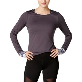 Jessica Simpson Womens Juniors Compression Top Open Back Athletic