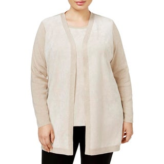 Calvin Klein Womens Plus Cardigan Sweater Faux Suede Mixed Media - 1x