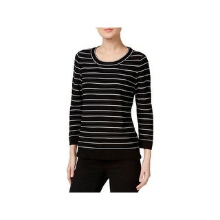 Calvin Klein Womens Pullover Sweater Striped 3/4 Sleeves - S
