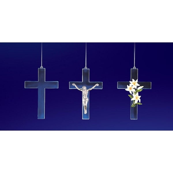 """Club Pack of 12 Icy Crystal Decorative Religious Cross Ornaments 4.5"""""""