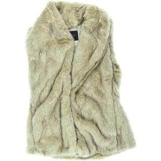 Sanctuary Womens Faux Fur Shawl Collar Vest - L