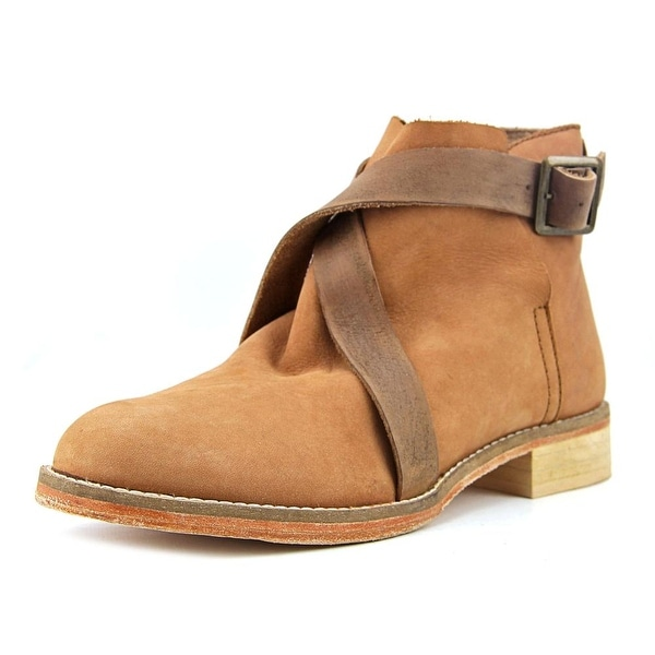 Free People Las Palmas Ankle Boot Women Round Toe Leather Tan Ankle Boot