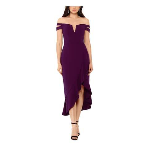 XSCAPE Womens Purple Sleeveless Midi Hi-Lo Evening Dress Size 10