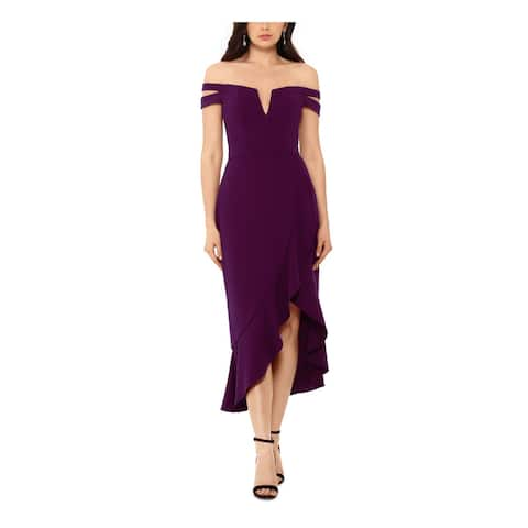XSCAPE Womens Purple Sleeveless Midi Hi-Lo Evening Dress Size 12