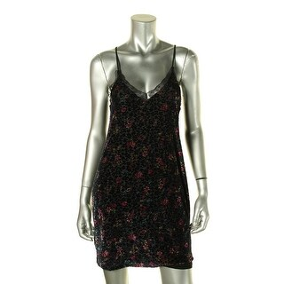 Aqua Capsule Womens Slip Dress Velvet Lace Trim