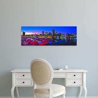 Easy Art Prints Panoramic Images's 'Baltimore Harbor by night, Baltimore, Maryland, USA' Premium Canvas Art