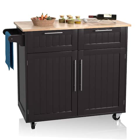 Costway Rolling Kitchen Cart Island Heavy Duty Storage Trolley Cabinet Utility Modern - as pic