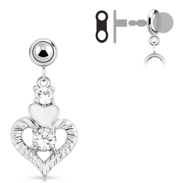 Add-On Multi Clear Gem With White Heart Dangle Charm for Navel Belly Button Ring, Dermal Anchors and More