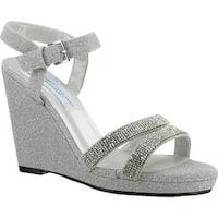 Dyeables Women's Amy Platform Sandal Silver Glitter