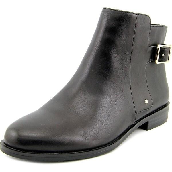 Alfani Acke Women Round Toe Leather Black Ankle Boot