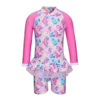 Sun Emporium Baby Girls Pink Blue Vintage Blossom Long Sleeved Sun Suit