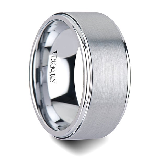 THORSTEN - OPTIMUS Raised Center with Brush Finish Tungsten Ring - 10mm