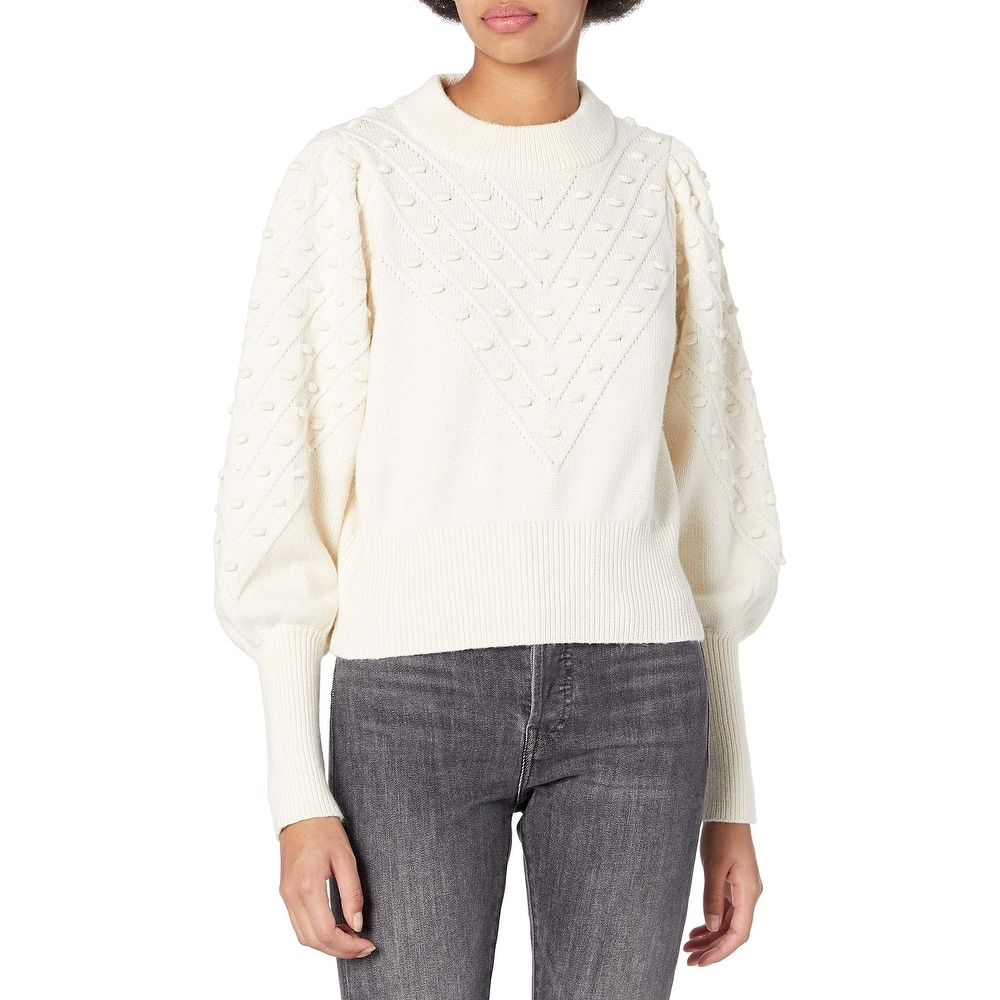 French Connection Womens Cable Knit Ribbed Trim Crew Neck Sweater Top BHFO 8806