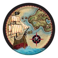 """Club Pack of 96 Pirate's Map Disposable Paper Party Dinner Plates 9"""" - Red"""