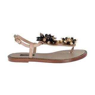 Dolce & Gabbana Dolce & Gabbana Beige Leather Crystal Floral Sandal