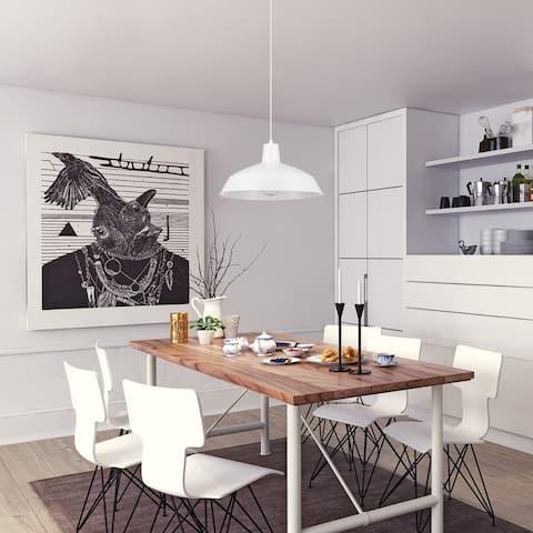 Porch & Den Arroyo Matte White 1-light Pendant White Woven Fabric Cord