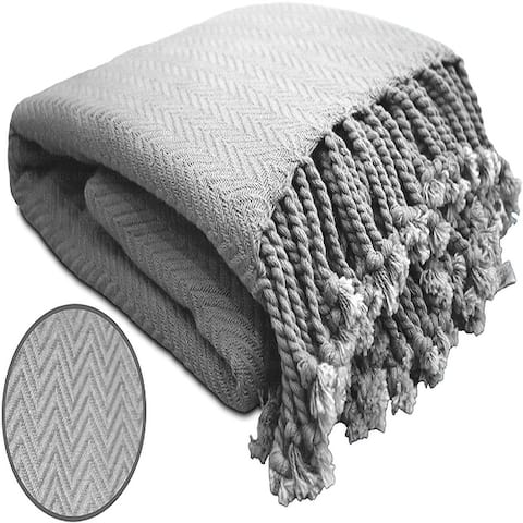 100% Ring Spun Cotton Chevron Throws Blankets Hand Woven with Fringe Super Soft 50''x60''