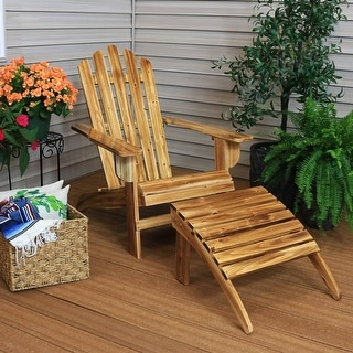 Sunnydaze Classic Wooden Adirondack Chair with Ottoman - Gray