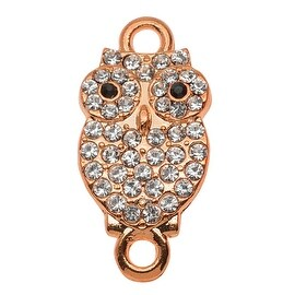 Crystal Encrusted 2-Ring Connector, Owl Design, 10.5x21mm, 1 Piece, Rose Gold Plated