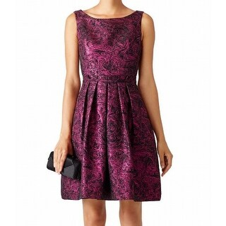 Cynthia Steffe Purple Womens Size 8 Shimmer Metallic A-Line Dress