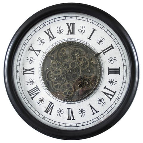 Yosemite Home Decor Black Wood Round Mid-century Modern Wall Clock with Gears - 28 x 28 x 3.8
