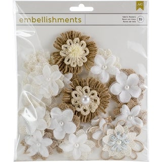 Assorted Shapes & Sizes - American Crafts Fabric & Paper Flowers 19/Pkg