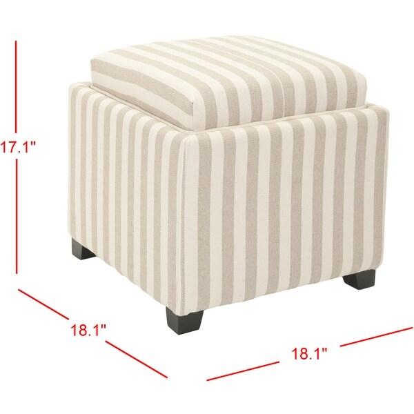 SAFAVIEH Broadway Single Tray Stripe Beige/Ivory Cotton Storage Ottoman