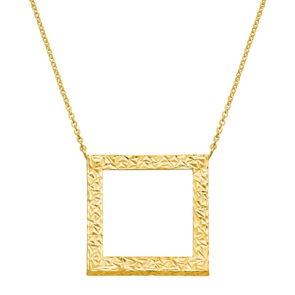 Just Gold Textured Open Square Necklace in 14K Gold - Yellow