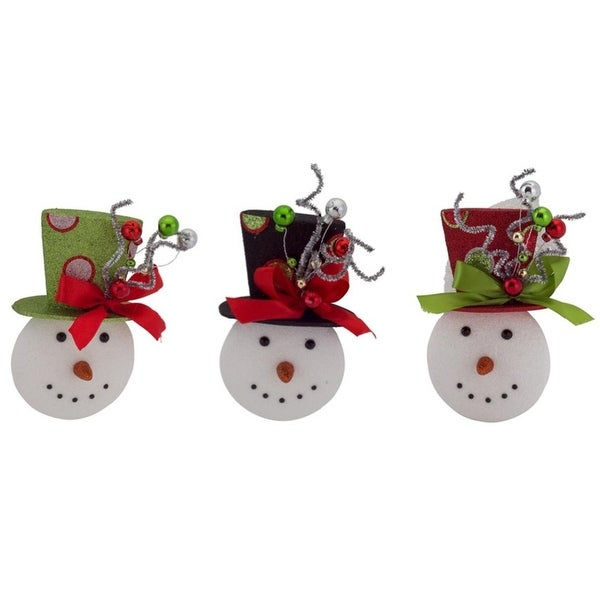 """Pack of 6 Red, Black and Green Snowman Ornaments 8"""""""