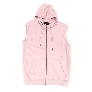 INC Pink Mens Size 2XL Deconstructed Hooded Rib-Trim Full Zip Vest