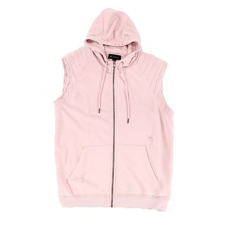 INC Pink Mens Size Large L Desconstructed Hooded Vest Sweater