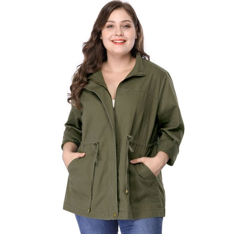 Women's Plus Size Stand Collar Drawstring Utility Jacket - Green