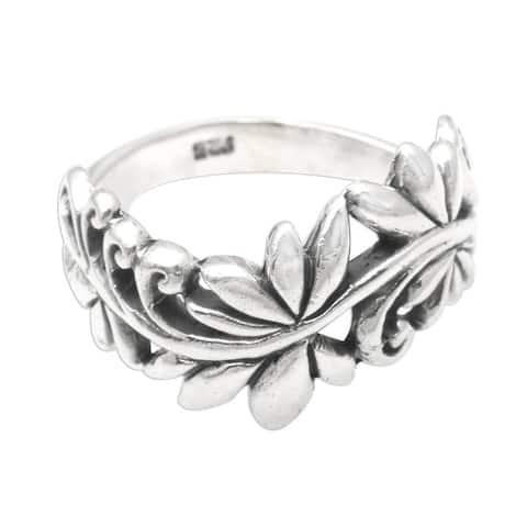 NOVICA Flourishing Flora, Sterling silver band ring