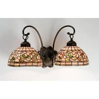 """Meyda Tiffany 18717 Turning Leaf 18"""" Wide 2 Light Double Sconce with Stained Glass Shades"""