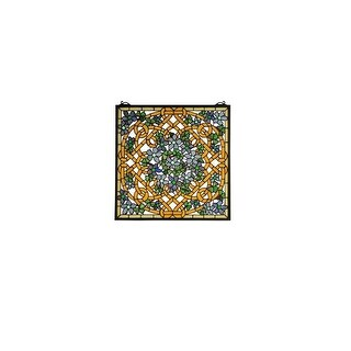 Meyda Tiffany 99027 Tiffany Square Stained Glass Window Pane from the Shamrock Garden Collection - bronze