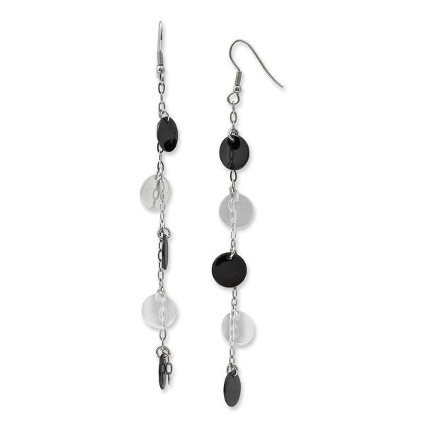 Chisel Stainless Steel Black IP-plated & Polished Discs Dangle Earrings