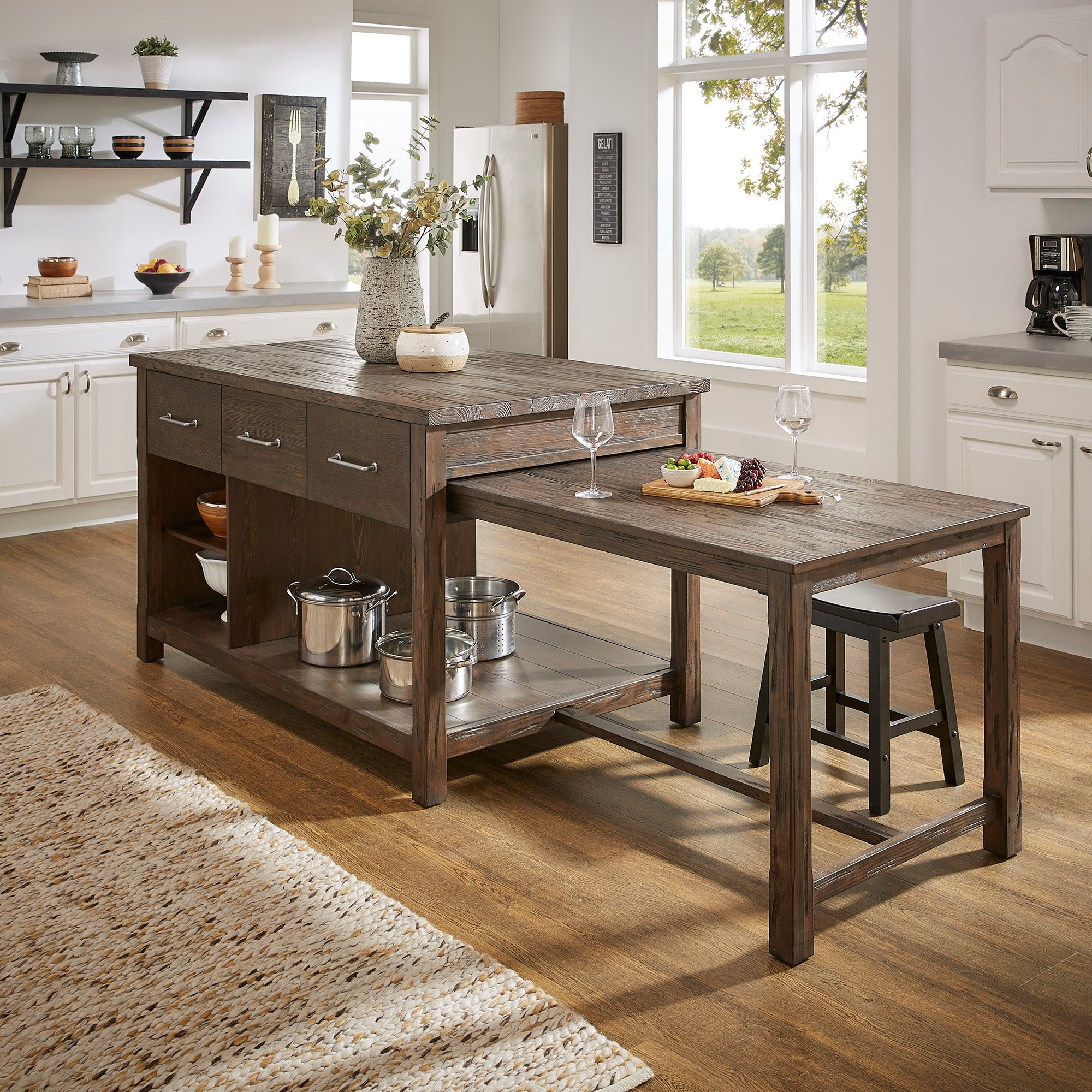 Tali Reclaimed Wood Extendable Kitchen Island By Inspire Q Classic Overstock 25576038 Brown Finish Brown Top