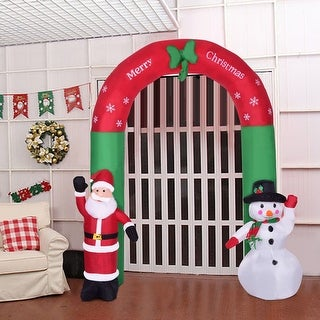 Costway 8.2' Indoor/Outdoor Snowman Santa Claus Christmas Holiday Decoration Setting