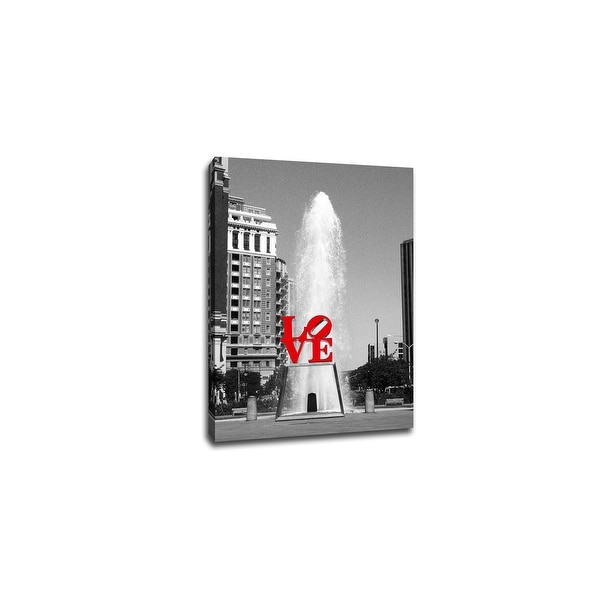 LOVE Park Philadelphia - Touch of Color - 36x24 Gallery Wrapped Canvas ToC