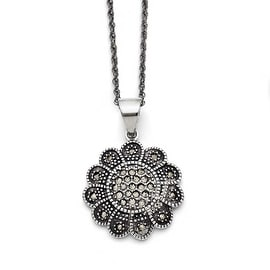 Chisel Stainless Steel Textured Flower Marcasite Necklace (2 mm) - 20 in