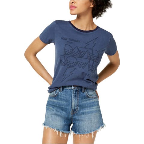 Lucky Brand Womens David Bowie Graphic T-Shirt, Blue, X-Small