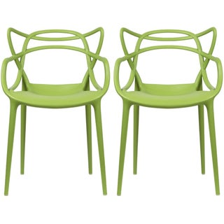 2xhome Set of 2 Modern Contemporary Stackable Design Master Chair Dining Arm Chair With Arms Home Outdoor Patio Garden Molded