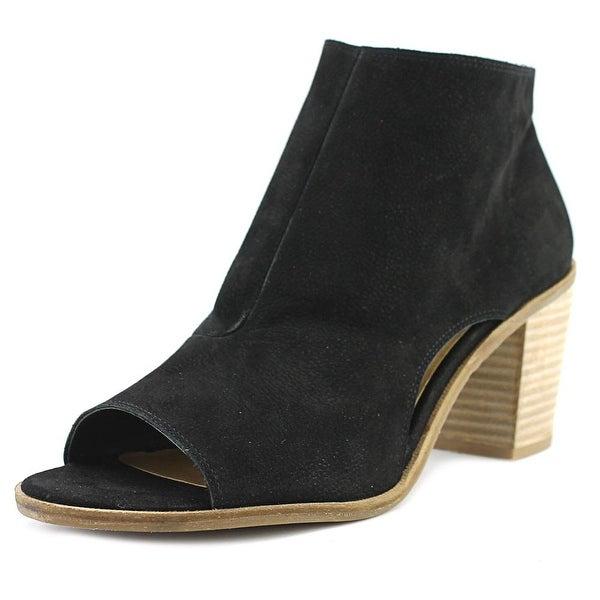 Lucky Brand Kasima Women Peep-Toe Leather Black Bootie