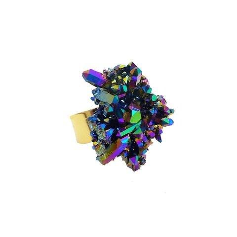 Titanium Rainbow Aura Crystal Ring